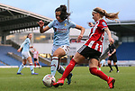 Asmita Ale of Aston Villa tackles Olivia Fergusson of Sheffield United during the The FA Women's Championship match at the Proact Stadium, Chesterfield. Picture date: 12th January 2020. Picture credit should read: James Wilson/Sportimage