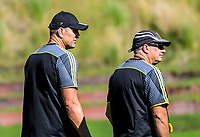 Hurricanes coaches John Plumtree (left) and Chris Boyd during the  Hurricanes rugby union training at Rugby League Park in Wellington, New Zealand on Wednesday, 24 January 2018. Photo: Dave Lintott / lintottphoto.co.nz