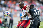 West Bromwich Albion defender Allan Nyom (L) competes for the ball with Crystal Palace midfielder Jeffrey Schlupp (R) during the Premier League Asia Trophy match between West Bromwich Albion and Crystal Palace at Hong Kong Stadium on 22 July 2017, in Hong Kong, China. Photo by Weixiang Lim / Power Sport Images