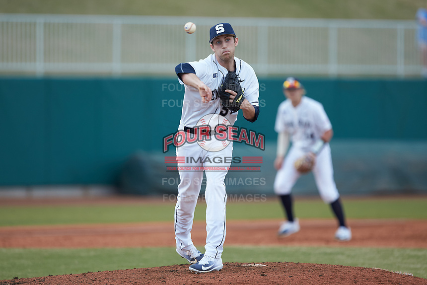 Justin Hagenman (31) of the Penn State Nittany Lions makes a pickoff throw to first base against the Xavier Musketeers at Coleman Field at the USA Baseball National Training Center on February 25, 2017 in Cary, North Carolina. The Musketeers defeated the Nittany Lions 7-5 in game two of a double header. (Brian Westerholt/Four Seam Images)