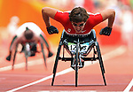 Jessica Tatassa of Oldcastle, Ont. in heats of the  women's 200 metres  at the Paralympic Games in Beijing, Sunday, Sept., 14, 2008. <br /> Photo by Mike Ridewood/CPC