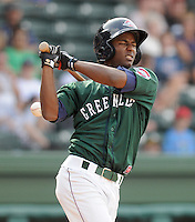 Outfielder Wilfredo Pichardo (2) of the Greenville Drive, Class A affiliate of the Boston Red Sox, at a game against the West Virginia Power May 2, 2010, at Fluor Field at the West End in Greenville, S.C. Photo by: Tom Priddy/Four Seam Images