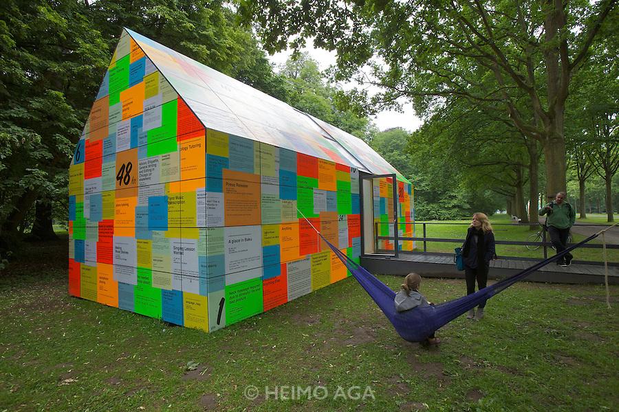 """dOCUMENTA (13) in Kassel, Germany..Karlsaue..e-flux (Julieta Aranda & Anton Vidokle). """"Time/Bank"""", 2012."""