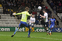 Preston North End's Sean Maguire scores his sides second goal  beating Leeds United's Bailey Peacock-Farrell<br /> <br /> Photographer Mick Walker/CameraSport<br /> <br /> The EFL Sky Bet Championship - Preston North End v Leeds United - Tuesday 10th April 2018 - Deepdale Stadium - Preston<br /> <br /> World Copyright &copy; 2018 CameraSport. All rights reserved. 43 Linden Ave. Countesthorpe. Leicester. England. LE8 5PG - Tel: +44 (0) 116 277 4147 - admin@camerasport.com - www.camerasport.com