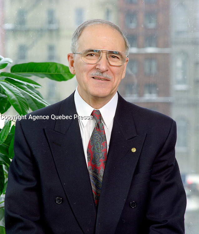 April 1993 exclusive file photo - <br /> Ulric Blackburn, President,<br />  Union des Municipalites du Quebec (1993-1995), Mayor, Chicoutimi (1981-1997).<br /> <br /> He passed away at aged 72, on June 2nd, 1999.