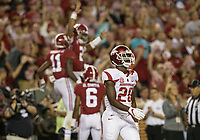 Hawgs Illustrated/BEN GOFF <br /> DeAndre Coley (20), Arkansas free safety, walks back to the bench after Henry Ruggs (11), Alabama reciever, scored in the third quarter Saturday, Oct. 14, 2017, at Bryant-Denny Stadium in Tuscaloosa, Ala.