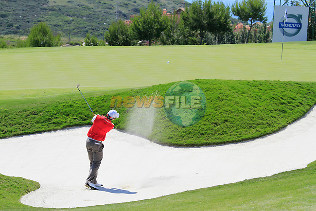 Rory McIlroy (N.IRL) chips out of a bunker at the 15th green during the morning session on Day 3 of the Volvo World Match Play Championship in Finca Cortesin, Casares, Spain, 21st May 2011. (Photo Eoin Clarke/Golffile 2011)