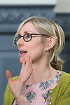 Lauren Child, children's writer and creator of Charlie and Lolka and Clarice Bean, at the Sheldonian Theatre during the FT Weekend Oxford Literary Festival, Oxford, UK. Sinday 30 March 2014.<br /> <br /> PHOTO COPYRIGHT Graham Harrison<br /> graham@grahamharrison.com<br /> <br /> Moral rights asserted.