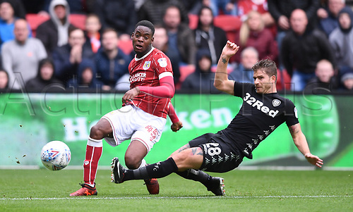 21st October 2017, Ashton Gate, Bristol, England; EFL Championship football, Bristol City versus Leeds United; Gaetano Berardi of Leeds United blocks the cross from Jonathan Leko of Bristol City
