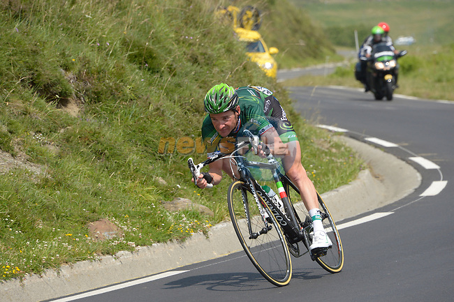 Thomas Voeckler (FRA) Europcar makes the fast descent off Col du Tourmalet during Stage 18 of the 2014 Tour de France running 145.5km from Pau to Hautacam. 24th July 2014.<br /> Photo ASO/B.Bade/www.newsfile.ie