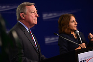 Washington, DC - January 24, 2017: U.S. Senator Richard Durbin (D-IL) listens to a question during a forum about Russian influence and interference in the 2016 presidential election at the Center for American Progress in the District of Columbia, January 24, 2017, as CAP president Neera Tanden moderated the session.  (Photo by Don Baxter/Media Images International)