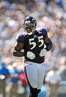 Sep. 20, 2009; San Diego, CA, USA; Baltimore Ravens linebacker (55) Terrell Suggs against the San Diego Chargers at Qualcomm Stadium in San Diego. Baltimore defeated San Diego 31-26. Mandatory Credit: Mark J. Rebilas-