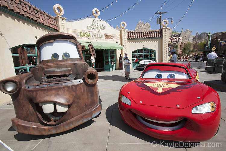 Meter and Lightning McQueen in Cars Land at Disney California Adventure at the Disneyland Resort in Anaheim, CA