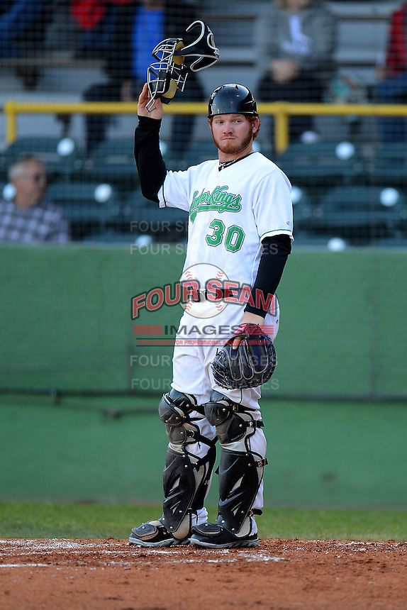 Clinton LumberKings catcher Tyler Marlette #30 during a game against the Burlington Bees on May 23, 2013 at Ashford University Field in Clinton, Iowa.  Clinton defeated Burlington 6-5.  (Mike Janes/Four Seam Images)