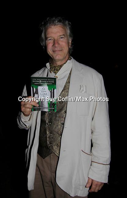 """Christopher Cass (Passions, Guiding Light, Loving """"Jack Forbes"""" and As The World Turns """"Scott Eldridge"""" stars in """"As You Like It"""" - Duke Senior  as a part of the 15th Anniversary Season of New York Classical Theatre as it presents William Shakespeare's """"As You Like It"""" in Central Park (as 103rd St. and Central Park West) Thursday through Sunday evenings followed by Prospect Park and Battery Park performances, (Photo by Sue Coflin/Max Photos)"""