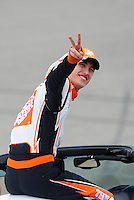 Oct. 11, 2009; Fontana, CA, USA; NASCAR Sprint Cup Series driver Joey Logano during the Pepsi 500 at Auto Club Speedway. Mandatory Credit: Mark J. Rebilas-