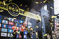 Women Elite Ronde van Vlaanderen 2018 podium with:<br /> <br /> 1. Anna van der Breggen (NED/Boels Dotmans)<br /> 2. Amy Pieters (NED/Boels Dotmans)<br /> 3. Annemiek Van Vleuten (NED/Mitchelton Scott)