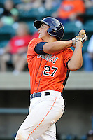 Catcher Jacob Nottingham (27) of the Greeneville Astros bats in a game against the Bristol Pirates on Friday, July 25, 2014, at Pioneer Park in Greeneville, Tennessee. Greeneville won, 9-4. (Tom Priddy/Four Seam Images)