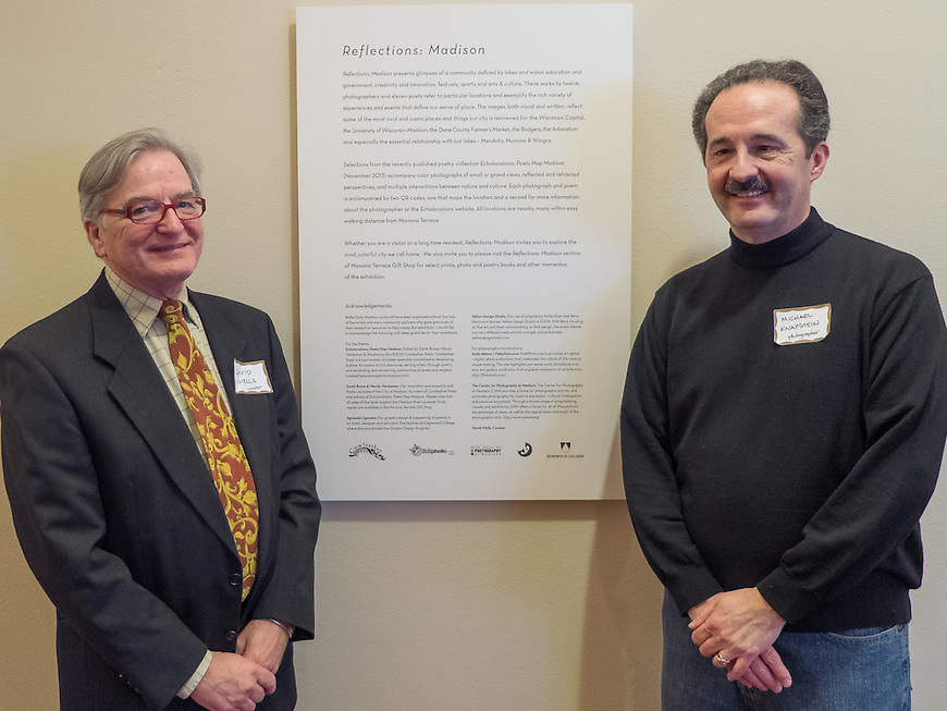 """Curator David Wells and photographer Michael Knapstein at the """"Reflections: Madison"""" Exhibit at the Monona Terrace Community and Convention Center in Madison, Wisconsin."""