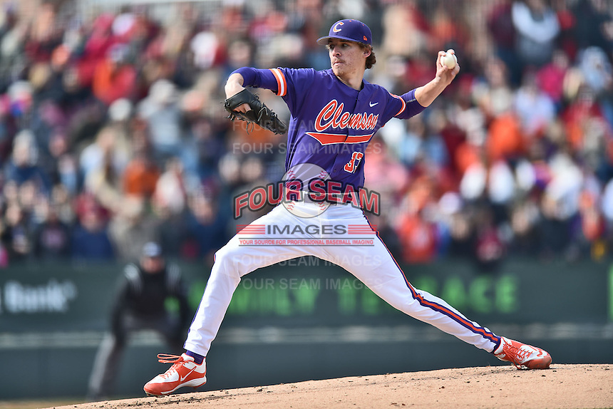 Clemson Tigers starting pitcher Zach Erwin (33) delivers a pitch during a game against the South Carolina Gamecocks at Fluor Field February 28, 2015 in Greenville, South Carolina. The Gamecocks defeated the Tigers 4-1. (Tony Farlow/Four Seam Images)