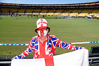 3rd November 2019, Wellington, New Zealand;  England fan dressed in Union Jack suit during the second T20 International game between New Zealand and England, Westpac Stadium, Wellington, Sunday 3rd November 2019.  - Editorial Use