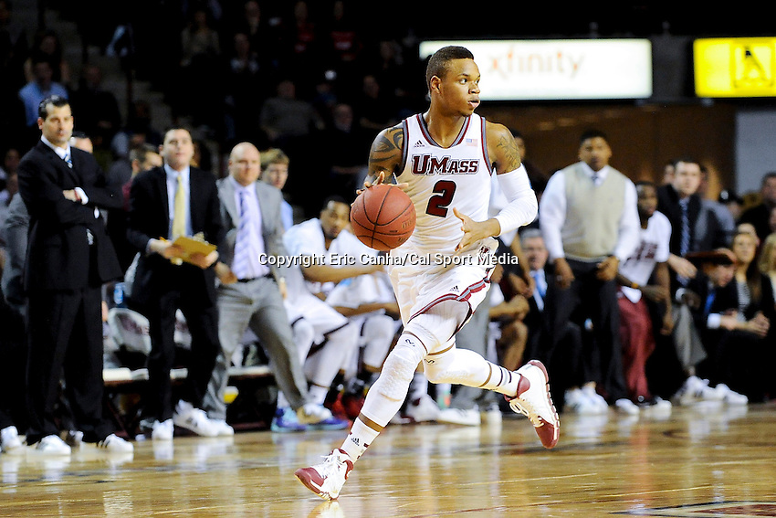 January 26, 2014 - Amherst, Massachusetts, U.S. - Massachusetts Minutemen guard Derrick Gordon (2) dribbles the ball during the NCAA basketball game between the Fordham Rams and the Massachusetts Minutemen held at  the Mullin Center in Amherst Massachusetts. Final score Massachusetts 90 Fordham 52  Eric Canha/CSM