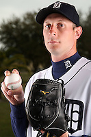 February 27, 2010:  Pitcher Max Scherzer (37) of the Detroit Tigers poses for a photo during media day at Joker Marchant Stadium in Lakeland, FL.  Photo By Mike Janes/Four Seam Images