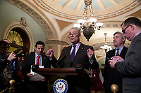 Senate Minority Leader Chuck Schumer, Democrat of New York, speaks during a press conference following a Democratic Caucus lunch on Capitol Hill in Washington, D.C. on March 12, 2019. <br /> CAP/MPI/RS<br /> &copy;RS/MPI/Capital Pictures