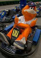June 14, 2002,St-Roch de l'Achigan (Montreal) QC, Canada<br /> <br /> Youppi, Mascotte for the Montreal's Expos Baseball team, along with players and celebrities take part in the media & celebrities karting race to benefit Leucan research & help for kids with cancer, June 14 2002, at Saint Roch de l'Achigan, near Montreal Canada.<br /> <br /> <br /> <br /> <br />  <br /> Mandatory Credit: Photo by Pierre Roussel- Images Distribution. (©) Copyright 2002 by Pierre Roussel <br /> ON SPEC<br /> NOTE l Nikon D-1 jpeg opened with Qimage icc profile, saved in Adobe 1998 RGB.