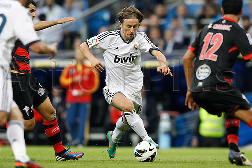 20.10.2012 Madrid, Spain.  La Liga football. Real Madrid CF vs  Celta (2-0) at Santiago Bernabeu stadium. The picture shows  Luka Modric (Croatian midfielder of Real Madrid)