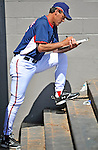15 March 2008: Washington Nationals' pitching coach  Randy St. Claire takes notes in the dugout during a Spring Training game against the Los Angeles Dodgers at Space Coast Stadium, in Viera, Florida...Mandatory Photo Credit: Ed Wolfstein Photo