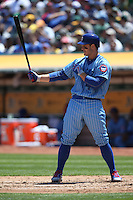 OAKLAND, CA - AUGUST 6:  Anthony Rizzo #44 of the Chicago Cubs bats against the Oakland Athletics during the game at the Oakland Coliseum on Saturday, August 6, 2016 in Oakland, California. Photo by Brad Mangin