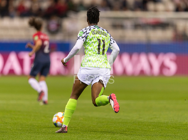 REIMS, FRANCE - JUNE 08: Chinaza Uchendu #11 dribbles during a game between Norway and Nigeria at Stade Auguste-Delaune on June 8, 2019 in Reims, France.