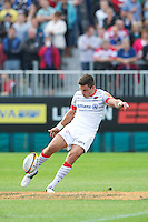 20120803 Copyright onEdition 2012©.Free for editorial use image, please credit: onEdition..Nils Mordt of Saracens takes a kick off against Sale Sharks 7s at The Recreation Ground, Bath in the Final round of The J.P. Morgan Asset Management Premiership Rugby 7s Series...The J.P. Morgan Asset Management Premiership Rugby 7s Series kicked off again for the third season on Friday 13th July at The Stoop, Twickenham with Pool B being played at Edgeley Park, Stockport on Friday, 20th July, Pool C at Kingsholm Gloucester on Thursday, 26th July and the Final being played at The Recreation Ground, Bath on Friday 3rd August. The innovative tournament, which involves all 12 Premiership Rugby clubs, offers a fantastic platform for some of the country's finest young athletes to be exposed to the excitement, pressures and skills required to compete at an elite level...The 12 Premiership Rugby clubs are divided into three groups for the tournament, with the winner and runner up of each regional event going through to the Final. There are six games each evening, with each match consisting of two 7 minute halves with a 2 minute break at half time...For additional images please go to: http://www.w-w-i.com/jp_morgan_premiership_sevens/..For press contacts contact: Beth Begg at brandRapport on D: +44 (0)20 7932 5813 M: +44 (0)7900 88231 E: BBegg@brand-rapport.com..If you require a higher resolution image or you have any other onEdition photographic enquiries, please contact onEdition on 0845 900 2 900 or email info@onEdition.com.This image is copyright the onEdition 2012©..This image has been supplied by onEdition and must be credited onEdition. The author is asserting his full Moral rights in relation to the publication of this image. Rights for onward transmission of any image or file is not granted or implied. Changing or deleting Copyright information is illegal as specified in the Copyright, Design and Patents Act 1988. If you are in any way unsure of your right to publish this ima