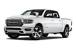 Stock pictures of low aggressive front three quarter view of a 2019 Ram 1500 Crew Cab Laramie Short Box 4x2 4 Door Pick Up