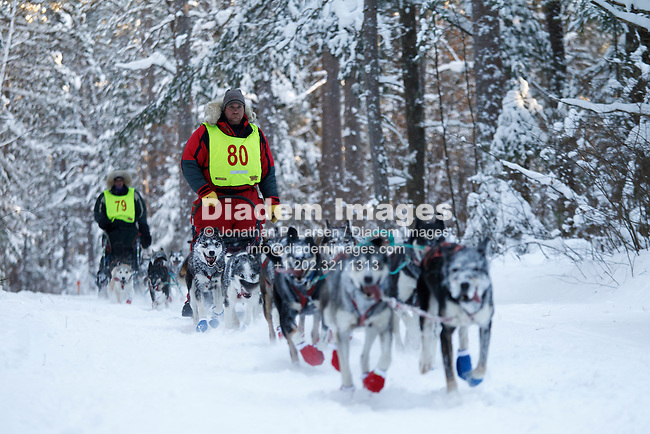 CHIPPEWA NATIONAL FOREST, MN - JANUARY 8:  Vern Shroeder (79) and Nathan Schroeder (80) make their way through the Chippewa National Forest during the 2011 White Oak Sled Dog Classic competition January 8, 2011 near Deer River, Minnesota.  (Photograph by Jonathan P. Larsen)