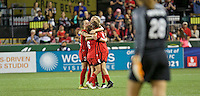 Portland, OR - Saturday July 30, 2016: Meleana Shim, Emily Menges during a regular season National Women's Soccer League (NWSL) match between the Portland Thorns FC and Seattle Reign FC at Providence Park.
