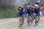 Riders including Greg Van Avermaet (BEL) BMC and Michal Kwiatkowski (POL) Team Sky on gravel sector 8 Monte Santa Maria during the 2017 Strade Bianche running 175km from Siena to Siena, Tuscany, Italy 4th March 2017.<br /> Picture: Eoin Clarke | Newsfile<br /> <br /> <br /> All photos usage must carry mandatory copyright credit (&copy; Newsfile | Eoin Clarke)