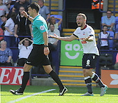 Bolton v Derby. SkyBet Championship. 8/8/15 <br /> <br /> Bolton's Jay Spearing gets marching orders from referee Andrew Madley.<br /> <br /> Credit: PHSP/Harry McGuire