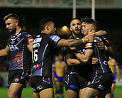 8th September 2017, The Mend-A-Hose Jungle, Castleford, England; Betfred Super League, Super 8s; Castleford Tigers versus Leeds Rhinos; Greg Minikin of Castleford Tigers  celebrates his try with Luke Gale of Castleford Tigers and Ben Roberts of Castleford Tigers