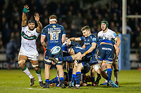 6th March 2020; AJ Bell Stadium, Salford, Lancashire, England; Premiership Rugby, Sale Sharks versus London Irish; Will Cliff of Sale Sharks clears the ball with a kick forward