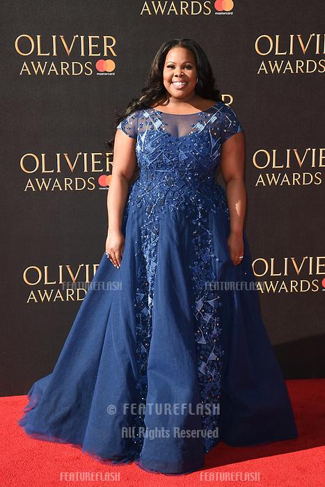 Amber Riley at The Olivier Awards 2017 at the Royal Albert Hall, London, UK. <br /> 09 April  2017<br /> Picture: Steve Vas/Featureflash/SilverHub 0208 004 5359 sales@silverhubmedia.com