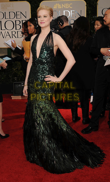 Evan Rachel Wood (in Gucci Premiere).Arrivals at the 69th Annual Golden Globe Awards at The Beverly Hilton Hotel, Beverly Hills, California, USA..January 15th, 2012.globes full length dress gown green halterneck sheer black sequins sequined  feathers hand on hip plunging neckline .CAP/GDG.©GDG/Capital Pictures