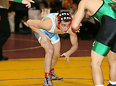 Joe Grippi and Paul Liguori wrestle at the 125 weight class during the NY State Wrestling Championships at Blue Cross Arena on March 8, 2008 in Rochester, New York.  (Copyright Mike Janes Photography)
