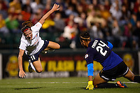 Sky Blue FC forward Lisa De Vanna (11) flies over Western New York Flash goalkeeper Adrianna Franch (24) during the first half during a National Women's Soccer League (NWSL) semifinal match at Sahlen's Stadium in Rochester, NY, on August 24, 2013.