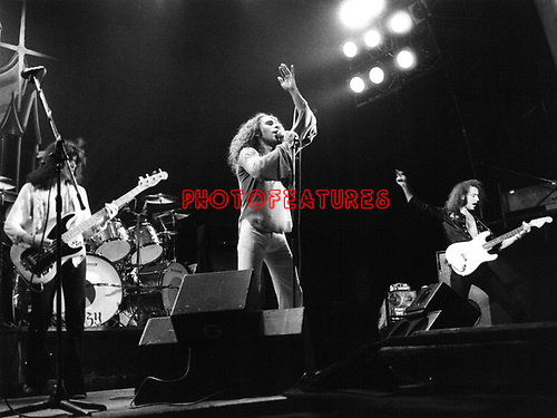 Rainbow 1976 Jimmy Bain, Ronnie James Dio and Ritchie Blackmore.© Chris Walter.