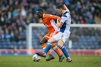 Blackpool's Daniel Agyei gets away from Blackburn Rovers' Richard Smallwood<br /> <br /> Photographer Andrew Kearns/CameraSport<br /> <br /> The EFL Sky Bet League One - Blackburn Rovers v Blackpool - Saturday 10th March 2018 - Ewood Park - Blackburn<br /> <br /> World Copyright &copy; 2018 CameraSport. All rights reserved. 43 Linden Ave. Countesthorpe. Leicester. England. LE8 5PG - Tel: +44 (0) 116 277 4147 - admin@camerasport.com - www.camerasport.com