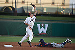 May 23, 2015; Stockton, CA, USA; Pepperdine Waves infielder Hutton Moyer (2, bottom) slides into second base against Loyola Marymount Lions infielder David Edwards (28) during the championship game in the WCC Baseball Championship at Banner Island Ballpark.