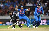 10th February 2019, Seddon Park, Hamilton, New Zealand; 3rd T20 International, New Zealand versus India;    Tim Seifert is stumped by MS Dhoni