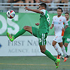 Jairo Arrieta No. 25 of the New York Cosmos looks to settle a pass during the first half of an NASL match against the Carolina RailHawks at Hoftra University on Saturday, Aug. 27, 2016. He scored two goals in the Cosmos' 6-1 win.